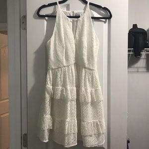 Adelyn Rae White Eyelet Lace Ruffle Dress XS